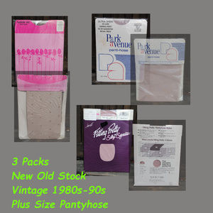 3 Pks New Old Stock 1980s-90s Plus Size Pantyhose